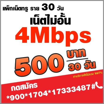 โปรเน็ตทรูรายเดือน 4mbps:500